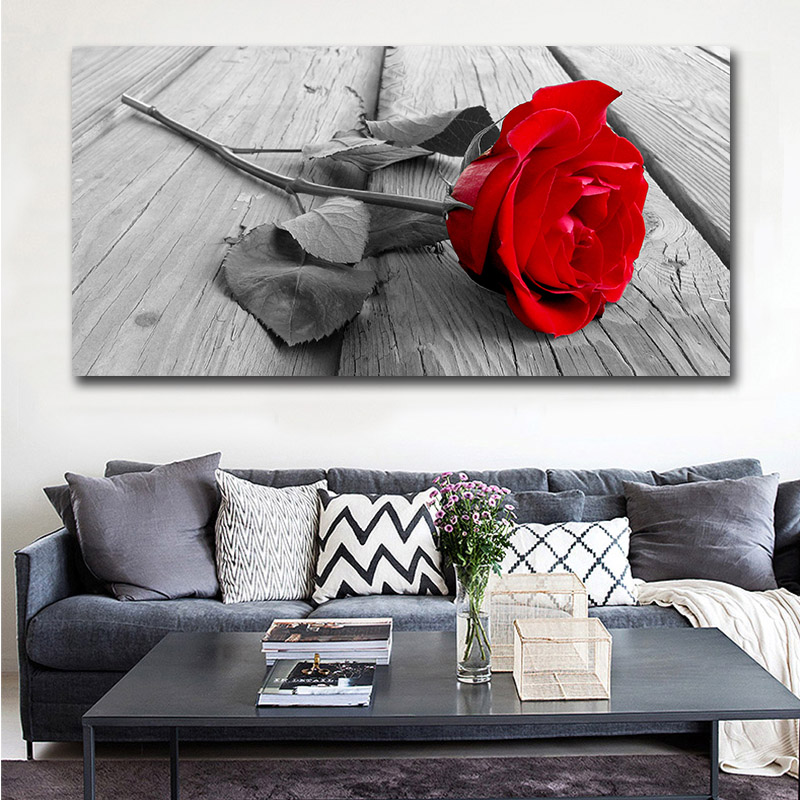 Wall Art Canvas Painting Picture Print Red Roses Flower Living Room Home Decorative Picture Paint on Canvas Modular Prints