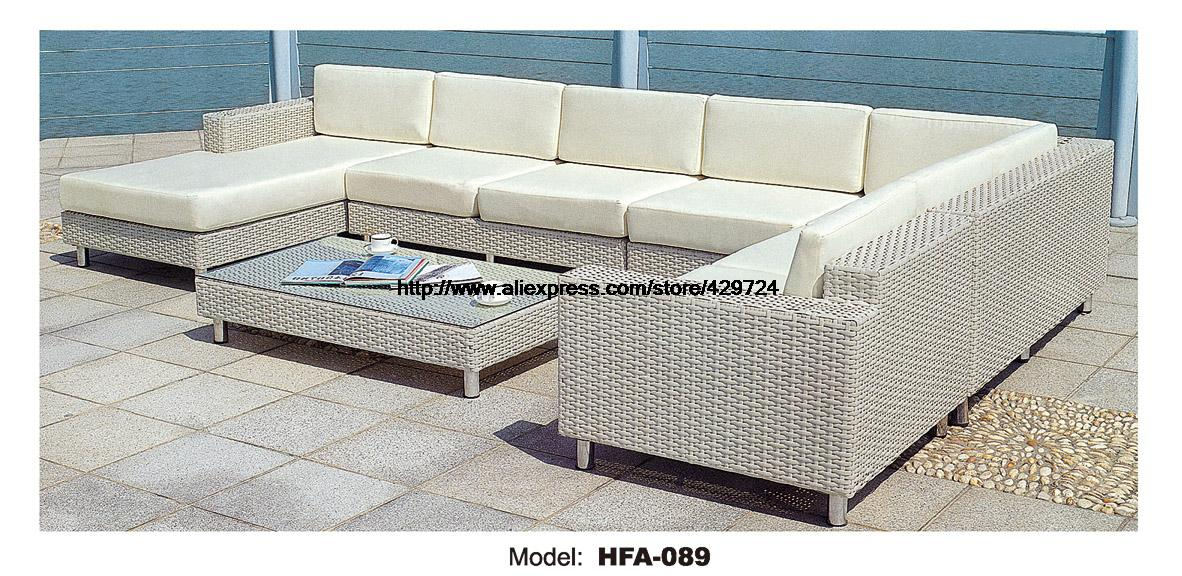 Luxury Large Sofa Outdoor U Shaped Rattan Sofa Furniture Set 2016 New Factory Price PE Rattan Garden Beach Furniture Glass Table