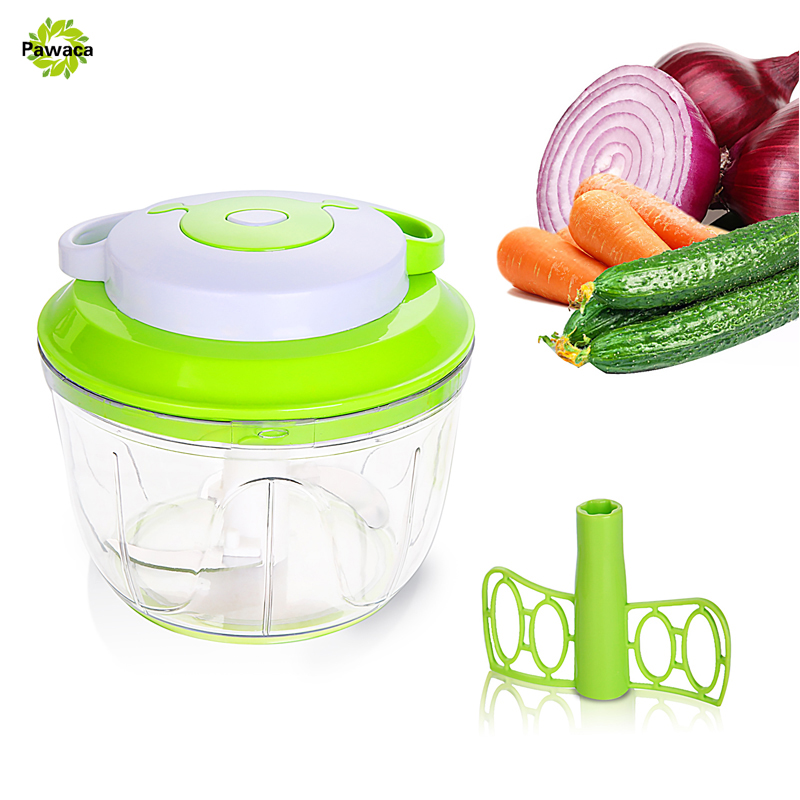 Pawaca Easy Pull Manual Food Chopper Vegetable Slicer Dicer Hand Held Onions Garlics Fruits Nuts Salad Processor Mixer Blender
