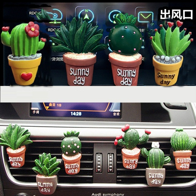Creative 3D Simulation Plant Auto Air Conditioner Outlet Decoration Perfume Clip Air Freshener Car Tuyere Fragrance Car Ornament
