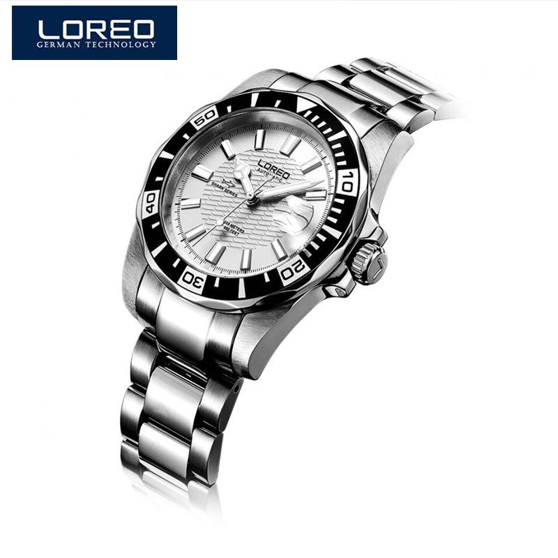 цена на LOREO Premium Brand Automatic Mechanical Men Dress Steel Watches Luminous Auto Date Full Steel Band Male Wristwatch With Box A55