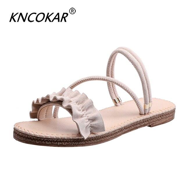 e332d05e5b8e2 Damskie sandały 2019 hot moda kobiety lato sandał na plażę ladies Open Toe  płaski sandał dorywczo buty damskie