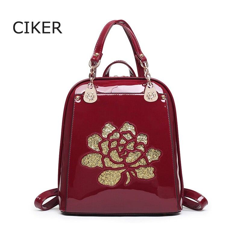 CIKER Fashion women leather backpack flower high quality backpacks for teenage girls font b school b