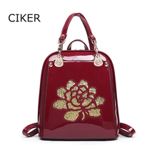 CIKER Fashion women leather backpack flower high quality backpacks for teenage girls school bags mochila mujer escolar daypack