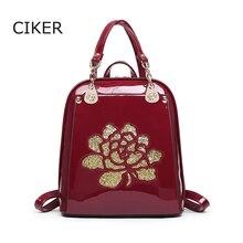 CIKER Fashion women leather backpack flower high quality backpacks for teenage girls school bags mochila mujer