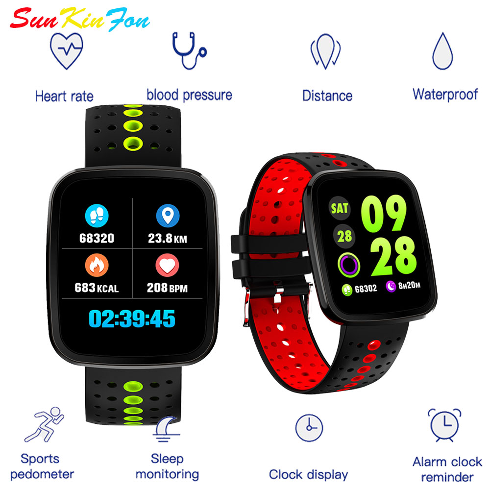 SunKinFon Smart Wristband U9 Heart Rate Blood Pressure Monitor Fitness Tracker Color LCD Bracelet Smart Band for iPhone 8 Plus 7 image
