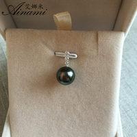 Ainami 10 11mm Simple Design Natural Black Tahitian Pearl 18k White Gold Pendant Necklace Fine