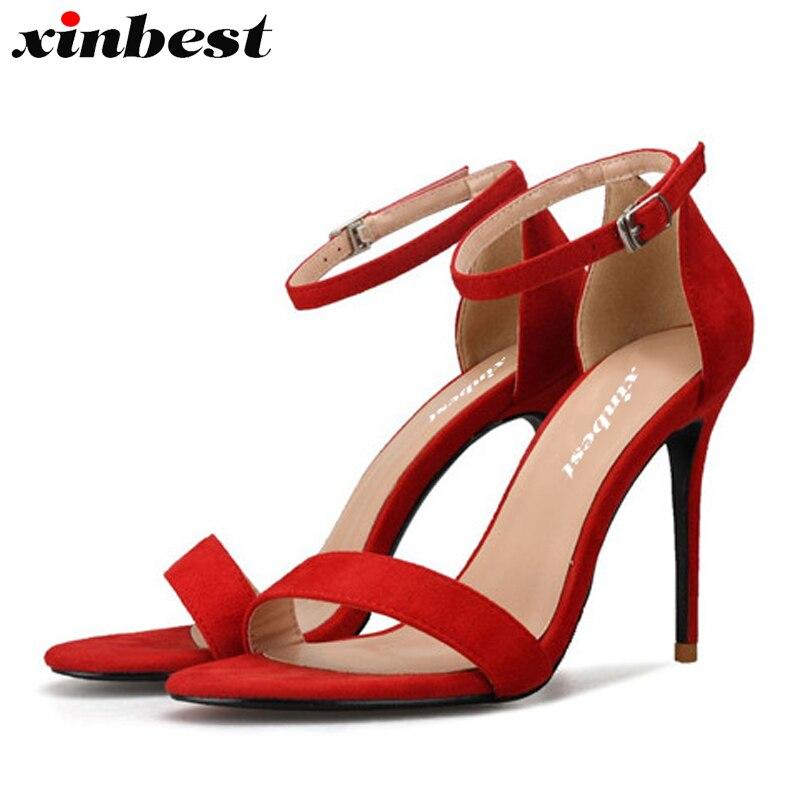 Moda Sandalias 2018 De naranja Hebilla Negro caqui rojo Tacón Con Para  Punta Alto Abierta Redonda Delgados Mujer Tacones Zapatos ... ae5562bac63c