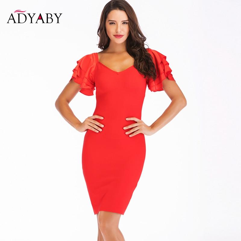 New Bandage Bodycon Dress Vestidos Women 2019 Celebrity Party Dress Elegant Pencil Dresses Red Black Fashion Mini Sheath Dress