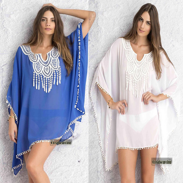 2017 Women Beach Dress Beach Tunic Summer Loose Dresses Women Wear Beach Blouse Crochet V Neck Chiffon