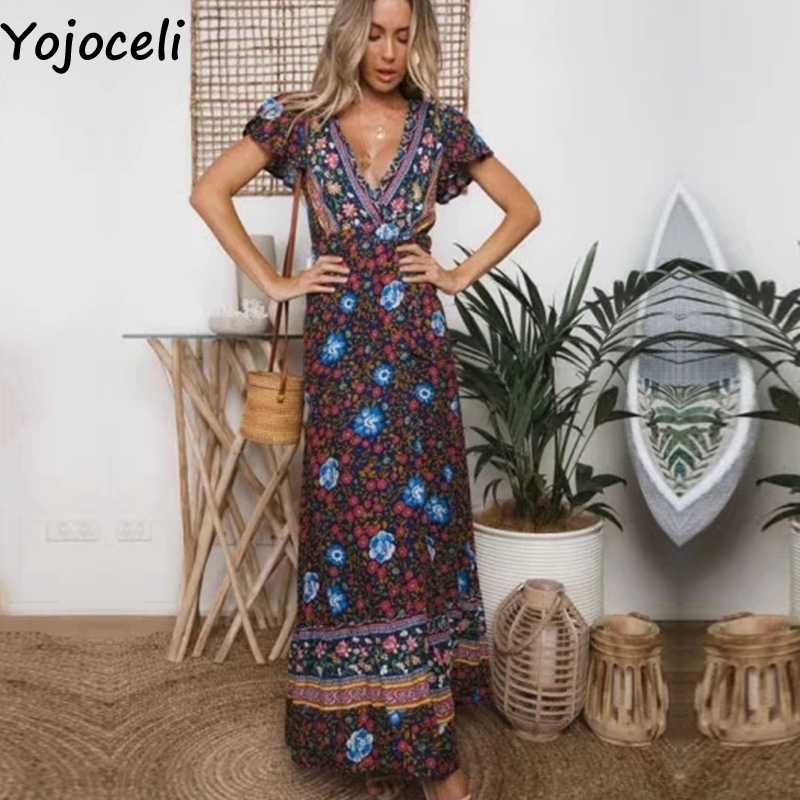 8a1d61b92c4dd US $19.99 40% OFF|Yojoceli Sexy floral print long dress women Summer  bohemia beach maxi dress female vestidos Casual daily cute elegant dress-in  ...