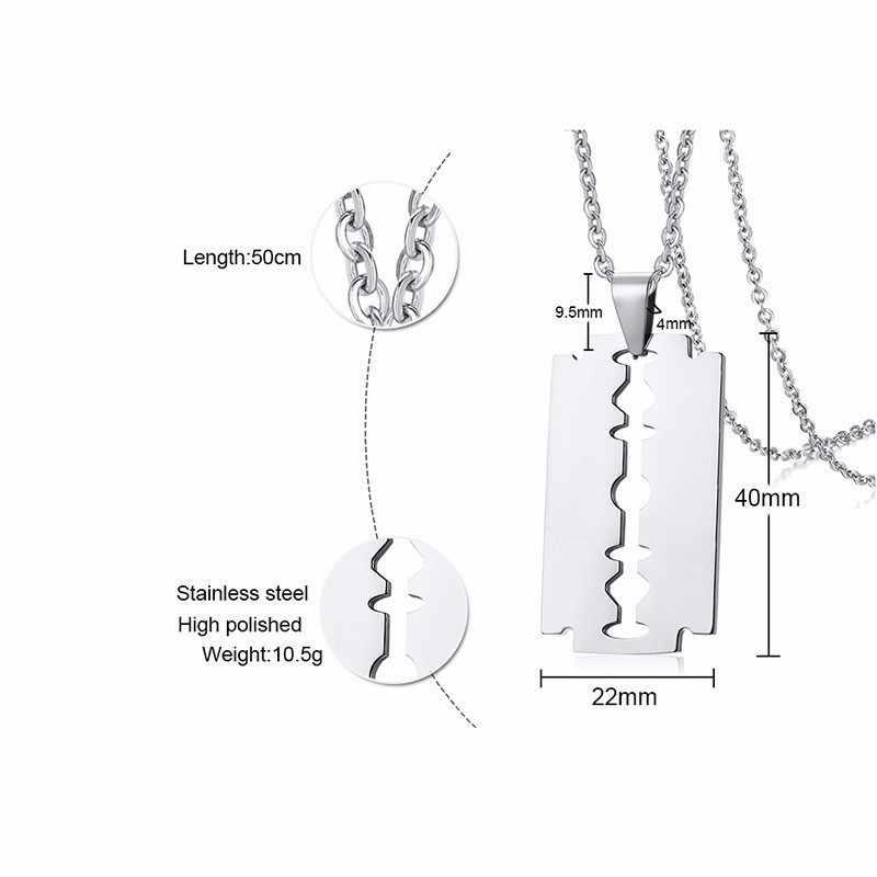Męska srebrny Tone żyletka naszyjnik dla mężczyzn ze stali nierdzewnej męskie dodatki biżuteria dla niego z 20 lub 24 cali