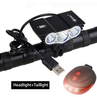 Black USB Bike Light 3*T6 LED Front Bicycle Headlights 4 Modes Cycling Lamp +Rechargeable Battery Pack +Charger+Safety Taillight