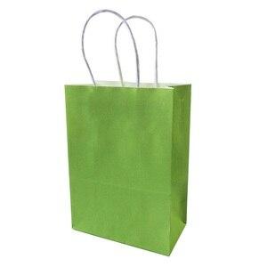 Image 5 - 10ピース/ロットフェスティバルギフトクラフト紙袋ショッピングバッグdiy多機能キャンディーカラー紙袋ハンドルと21x15x8cm