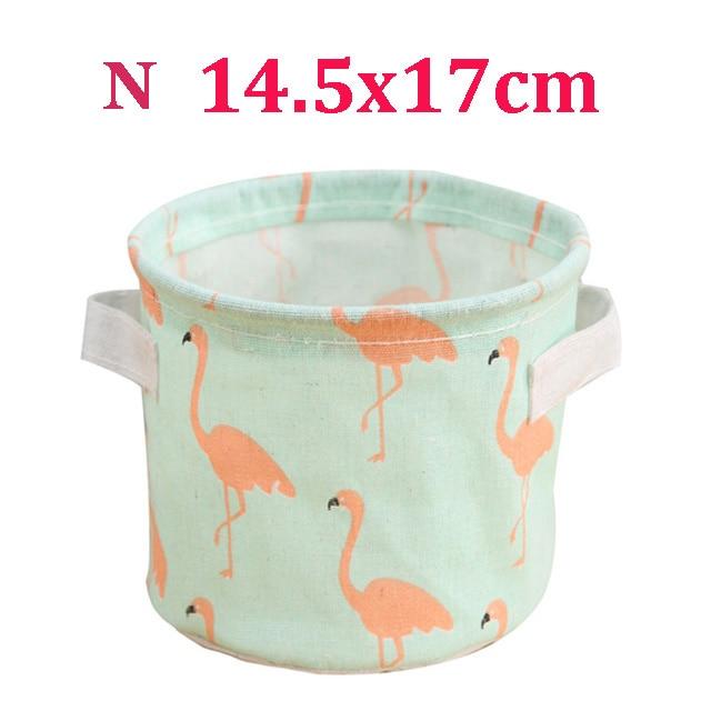 Настольный ящик для хранения с милым принтом, водонепроницаемый органайзер, хлопок, лен, корзина для хранения мелочей, шкаф, нижнее белье, сумка для хранения - Цвет: N