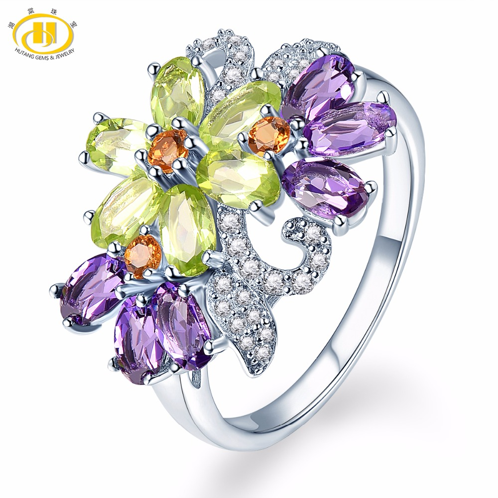 Hutang Engagement Ring 925 Sterling Silver Natural African Amethyst Peridot Flower Fine Fashion Multi Gemstone Jewelry