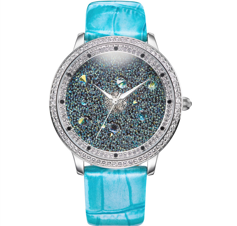 Luxury Starry Series Sparkling Full Crystals Dress Watches Europe Women Favorite Big Size Leather Wristwatch Quartz Montre Femme кольцо серебряное 2386104д