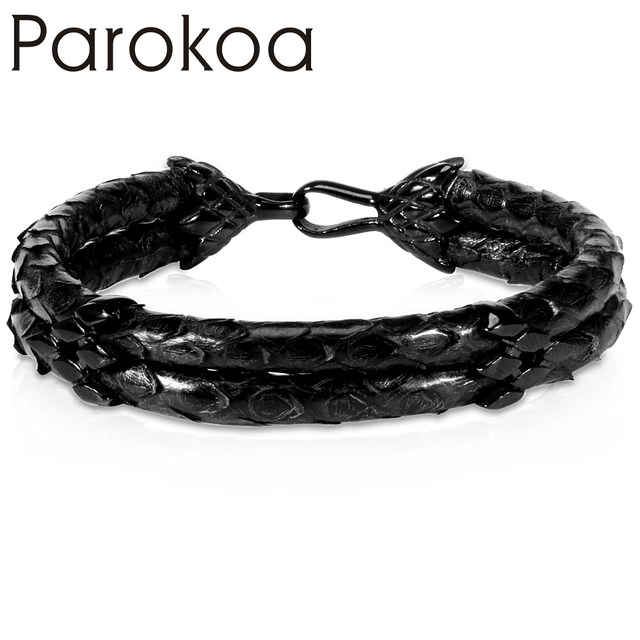Black Leather Genuine Python Hd Expensive Gift Bracelet For Luxury Watch
