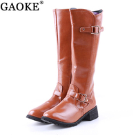Winter Boots Womens Square Low Heel Riding Motorcycle Heel Knee High Boots Punk Gothic Platform Ankle