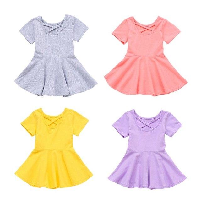 Moda bebé niñas de manga corta de Color sólido Casual vestidos niños niño verano vestidos trajes 2019 nueva ropa de bebé niñas