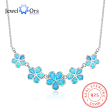 Plum Flower Accessories Necklaces & Pendants Blue Opal 925 Sterling Silver Necklace For Women Love Jewelry (JewelOra NE102119)