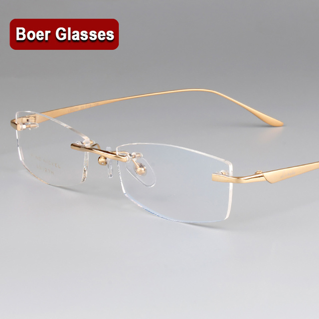3d3ab9f1ad New Fashion Pure Titanium Male Eyeglasses men Frames Rimless Eye Glasses  Myopia Spectacle Optical Prescription Eyewear 3527