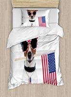 Собачников Декор постельное белье Американский собака с флагом США и оттенков солнцезащитные очки Юбилей независимости 4 шт. Постельное бе