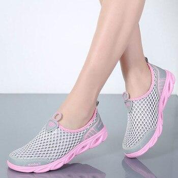 0edc66f173 2019 Verão Air Mesh Sapatos Mulher Flats Slip-On Moda Das Sapatilhas Das Mulheres  Sapatos de Plataforma Sapatos Femininos Tenis Feminino Mais tamanho 46