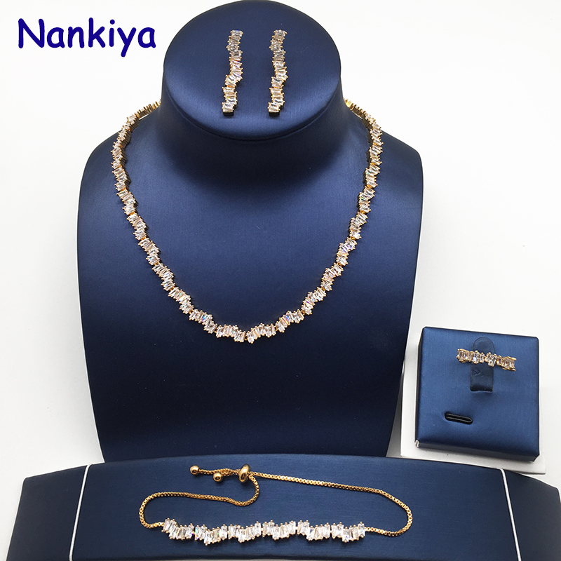 Nankiya Luxury Brilliant AAA Zirconia Wedding Jewelry Set Clear White Adjustable Bracelet Bridal Jewellery Set For Dance NC427