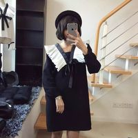 Preppy Style Cute Women dress Bow Ruffles Loose Slim Brought Big Doll Dresses Black Navy Blue 125