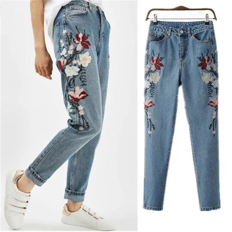 Spring Casual Women Pencil Jeans High Waist Vintage Floral Embroidery Fashion Ankle Length Women Denim Pants Jeans Femme C3182 2017 fashion women jeans retro style floral embroidery ripped hole denim pencil pants vintage mid waist ankle length trousers