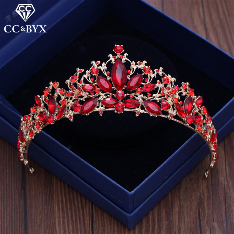 CC tiaras and crowns hairbands luxury red cz stone engagement wedding hair accessories for bridal party jewelry water drop xy178