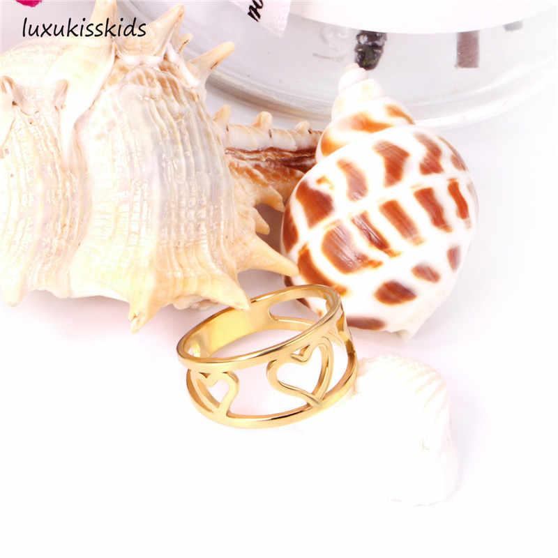 אלגנטי זהב טבעות סט לנשים גברים 316L נירוסטה אירוסין חתונת תכשיטי עבור נשים בנות טבעת Ringen מתנה
