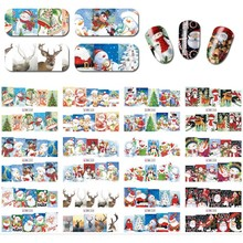 12Designs/Set Christmas Style Nail Art WaterTransfer Stickers Snowman Deer DIY Nail Art Decals Christmas tree santa pine cypress sparkling christmas tree pattern door art stickers