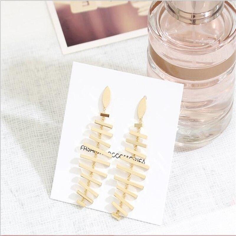 Fishbone modeling ear ring allergy S925 silver needle ear nail jewelry
