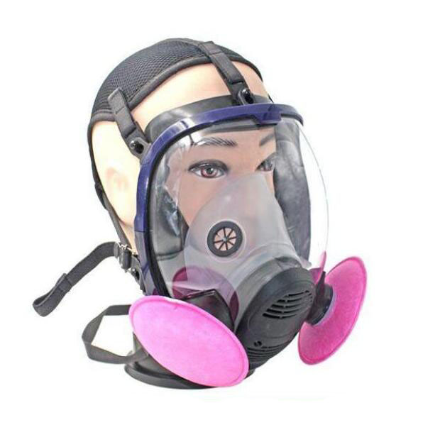 Full Face Gas Mask Chemical Respirator with Cotton Filters Against Industrial Dust KR005 3m 6300 6003 half facepiece reusable respirator organic mask acid face mask organic vapor acid gas respirator lt091