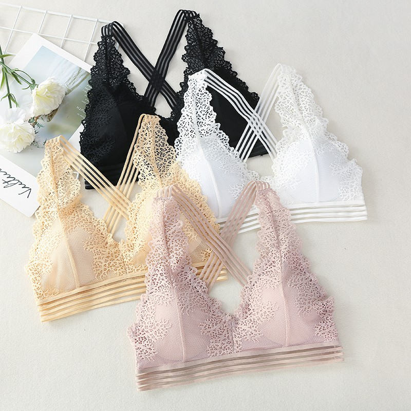 Women Lace Deep V-neck Bra Summer Tank Top Beauty Back Padded Bra Female Underwear