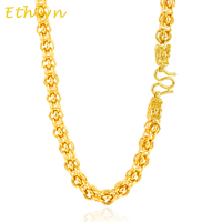 Ethlyn Men Punk Style 9mm Dragon Head Handmade Chain Vietnamese gold Color Wide Necklace Jewelry N012