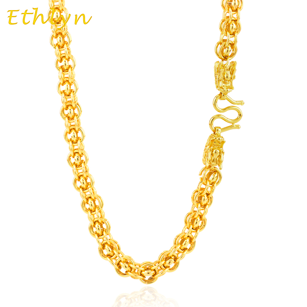 Ethlyn Men Punk Style 9mm Dragon Head Handmade Chain Vietnamese gold Color Wide Necklace Jewelry N012 все цены