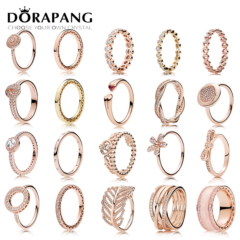DORAPANG 100% 925 Sterling Silver Fashion Personality Popular Charms Original Rose Gold Ring Fit Women Jewelry Factory Wholesale