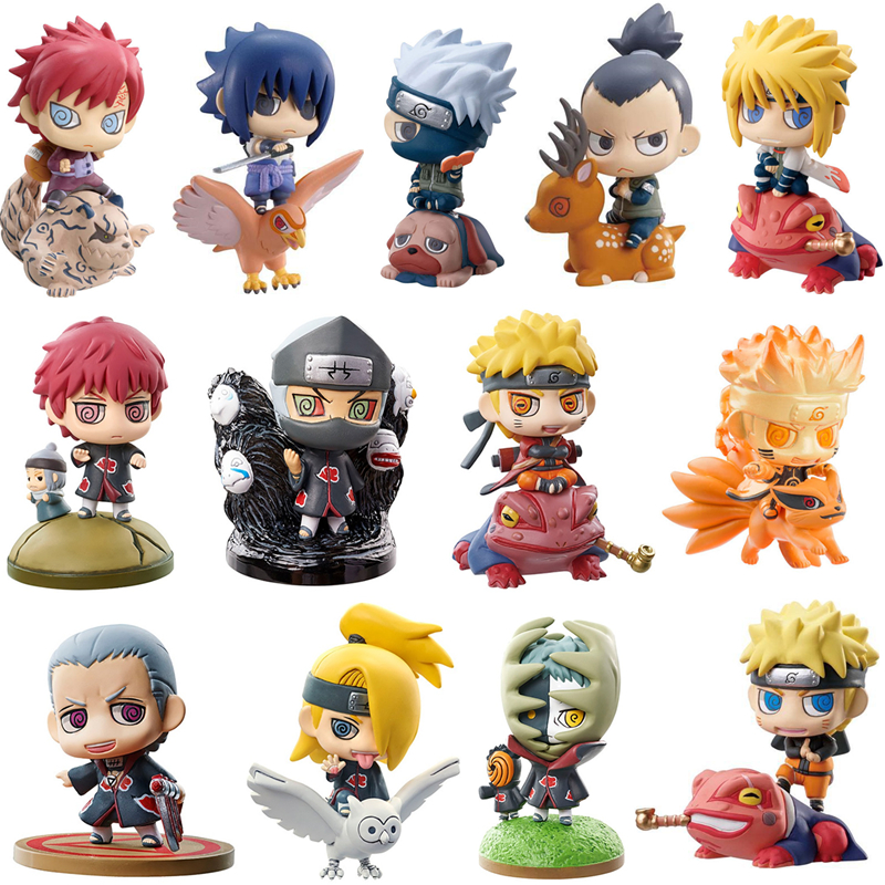 6style 6pcs set Naruto Sasuke Kakashi Uchiha Itachi Mounts Gaara Figures Japan Anime Collections Funny Toys