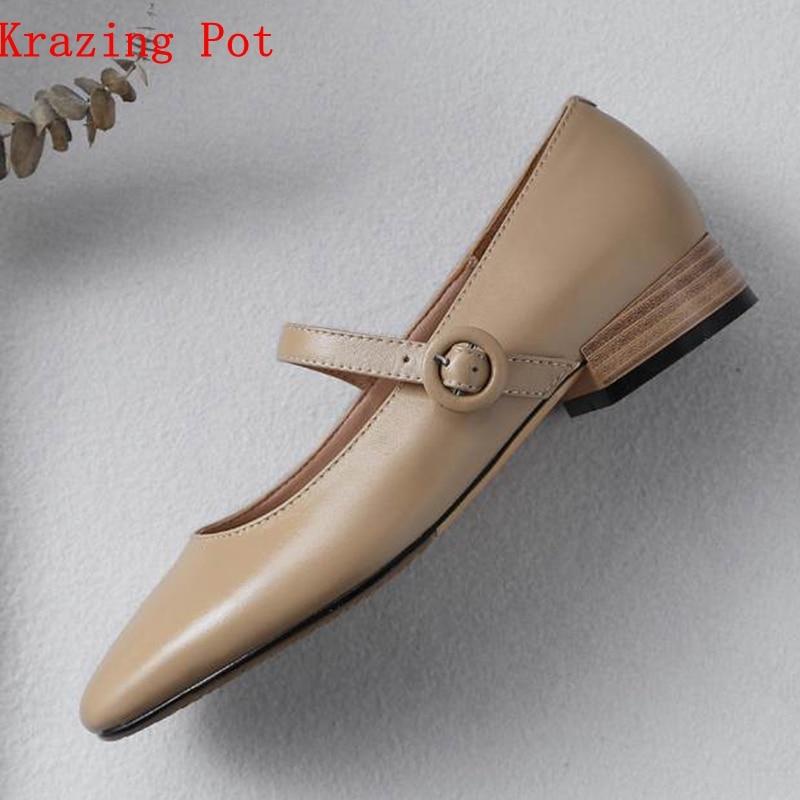 krazing Pot 2019 genuine leather round toe buckle straps soft color square low heels women pumps