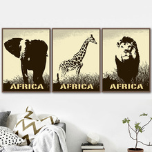 Elephant Giraffe Lion Animal Poster Vintage Nordic Poster And Prints Wall Art Canvas Painting Wall Picture For Living Room Decor animal cartoon poster giraffe elephant canvas painting nursery wall art nordic poster black and white picture kids room decor