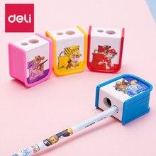 Deli lápis apontador de papelaria kawaii cartoon dois buracos apontador crianças papelaria presente cor aleatória material escolar