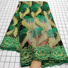 African Lace-Fabric Embroidery Stones Nigerian French High-Quality Women Black/green