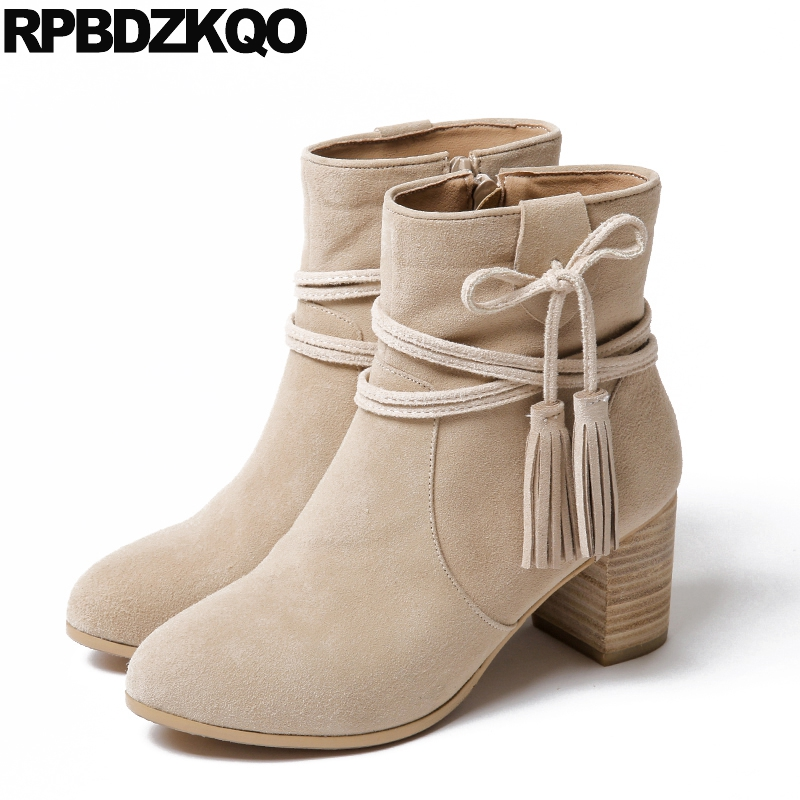 High Heel Fall Booties Black Womens Boots Winter 2017 Pointed Toe Short Chunky Ankle Fringe Casual Lace Up Shoes Suede Genuine