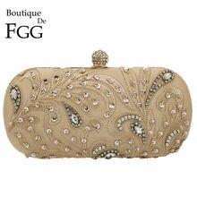 070cc855be2f Boutique De FGG Винтаж пайетки кристаллы Для женщин Вечернее Клатчи невесты  Свадебная вечеринка цветок сумки с бусинами кошельки