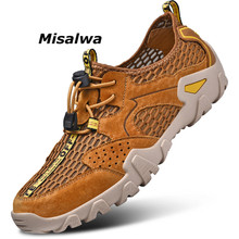 Misalwa Anti-skid 2019 Mens Summer Mesh Hikin Shoes Lightweight Movement Outdoor Sneakers Male Cap Toe Beach Sandals Big Size
