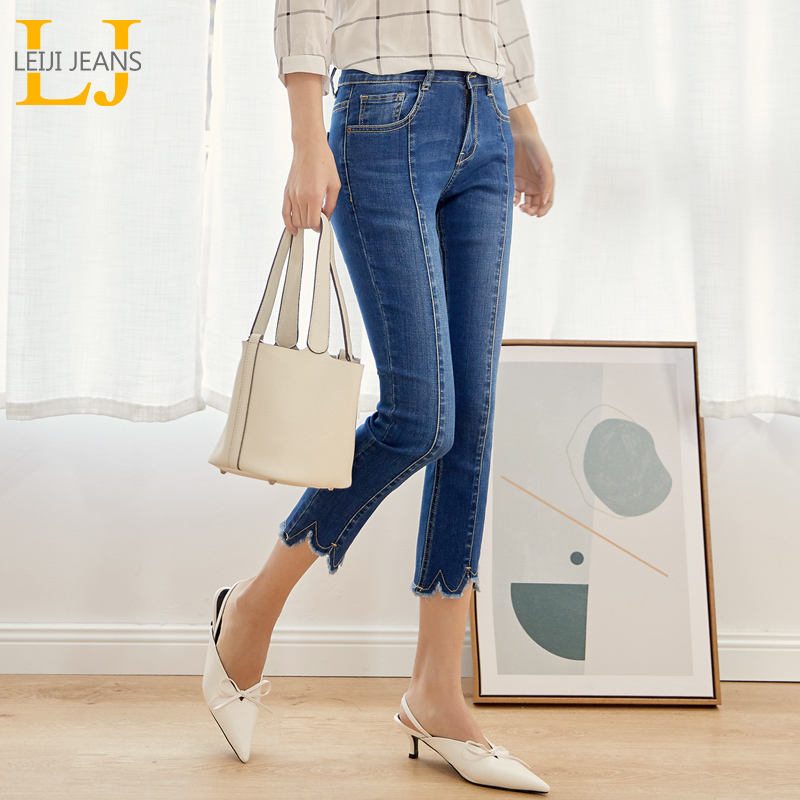 LEIJIJEANS Spring Autumn Casual Style Medium Blue Tassel Ankle Length Plus Size Slim Flare Waist   Jeans   Women Stretch   Jeans   9011
