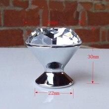 glass diamond dresser handle knob clear glass crystal drawer cabinet knob pull modern fashion silver chrome furniture knobs 30mm